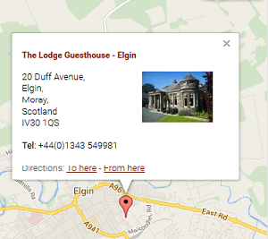 Location Map of Elgin Bed & Breakfast The Lodge Guesthouse